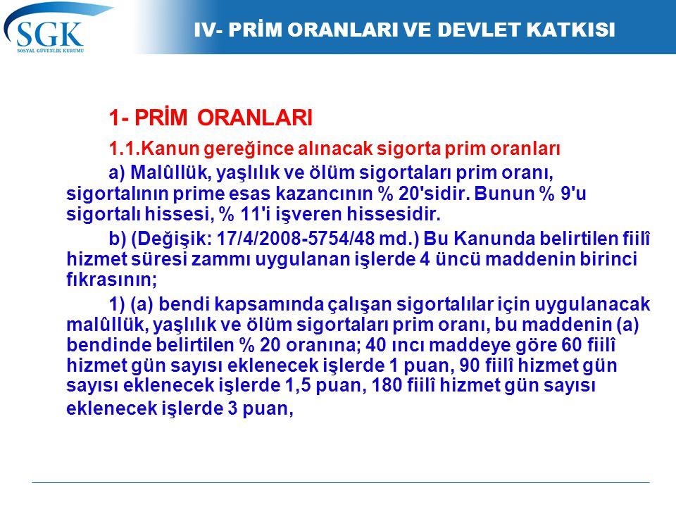 IV- PRİM ORANLARI VE DEVLET KATKISI 1- PRİM ORANLARI 1.1.Kanun gereğince alınacak sigorta prim oranları a) Malûllük, yaşlılık ve ölüm sigortaları prim