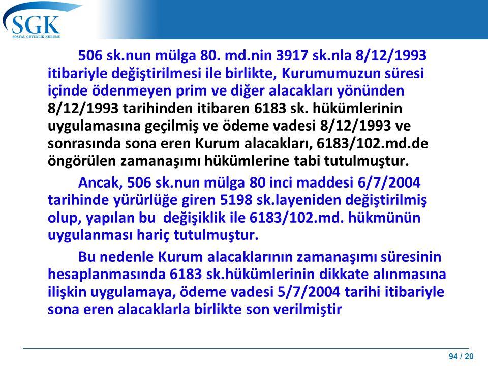 94 / 20 506 sk.nun mülga 80. md.nin 3917 sk.nla 8/12/1993 itibariyle değiştirilmesi ile birlikte, Kurumumuzun süresi içinde ödenmeyen prim ve diğer al