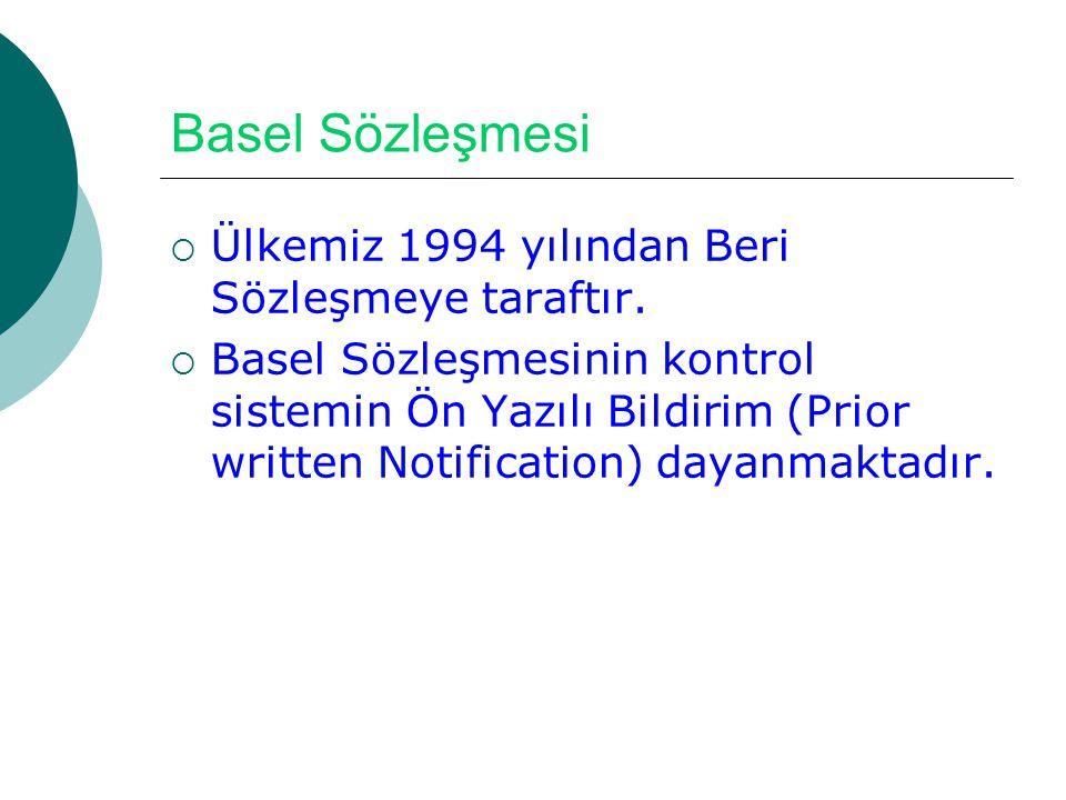 Basel Sözleşmesi  Ülkemiz 1994 yılından Beri Sözleşmeye taraftır.  Basel Sözleşmesinin kontrol sistemin Ön Yazılı Bildirim (Prior written Notificati