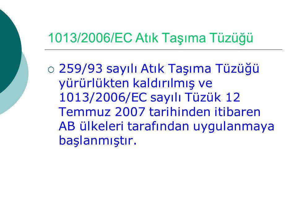 1013/2006/EC Atık Taşıma Tüzüğü  259/93 sayılı Atık Taşıma Tüzüğü yürürlükten kaldırılmış ve 1013/2006/EC sayılı Tüzük 12 Temmuz 2007 tarihinden itib