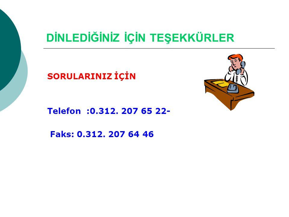 DİNLEDİĞİNİZ İÇİN TEŞEKKÜRLER SORULARINIZ İÇİN Telefon :0.312. 207 65 22- Faks: 0.312. 207 64 46