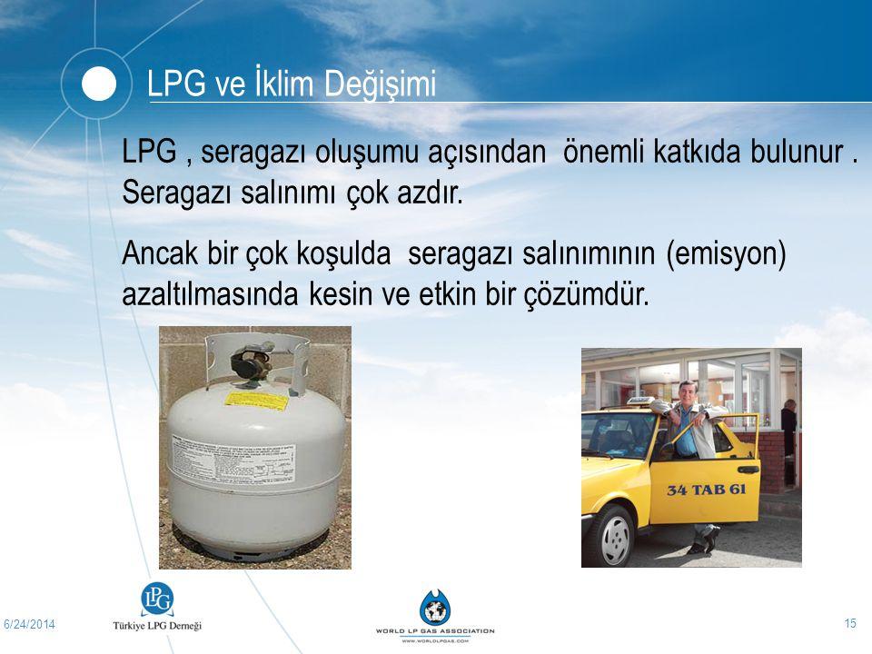 6/24/2014 15 LPG ve İklim Değişimi LPG, seragazı oluşumu açısından önemli katkıda bulunur. Seragazı salınımı çok azdır. Ancak bir çok koşulda seragazı