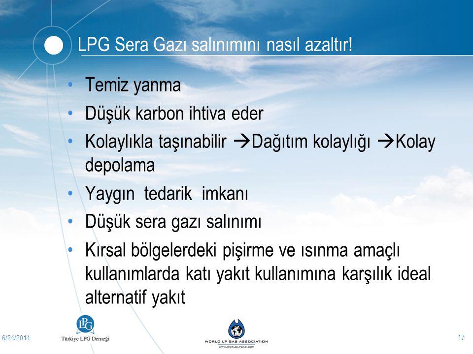6/24/2014 17 LPG Sera Gazı salınımını nasıl azaltır! •Temiz yanma •Düşük karbon ihtiva eder •Kolaylıkla taşınabilir  Dağıtım kolaylığı  Kolay depola