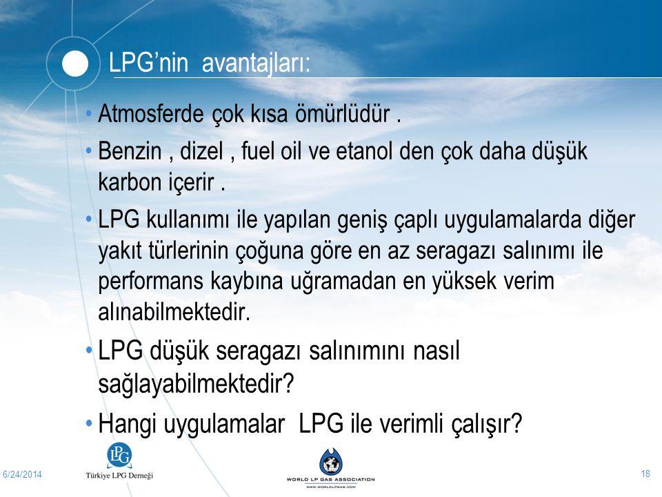 6/24/2014 18 LPG'nin avantajları: •Atmosferde çok kısa ömürlüdür. •Benzin, dizel, fuel oil ve etanol den çok daha düşük karbon içerir. •LPG kullanımı