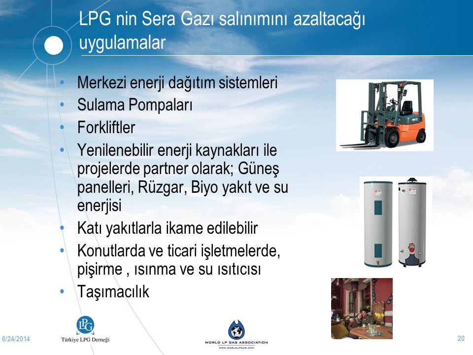 6/24/2014 20 LPG nin Sera Gazı salınımını azaltacağı uygulamalar •Merkezi enerji dağıtım sistemleri •Sulama Pompaları •Forkliftler •Yenilenebilir ener