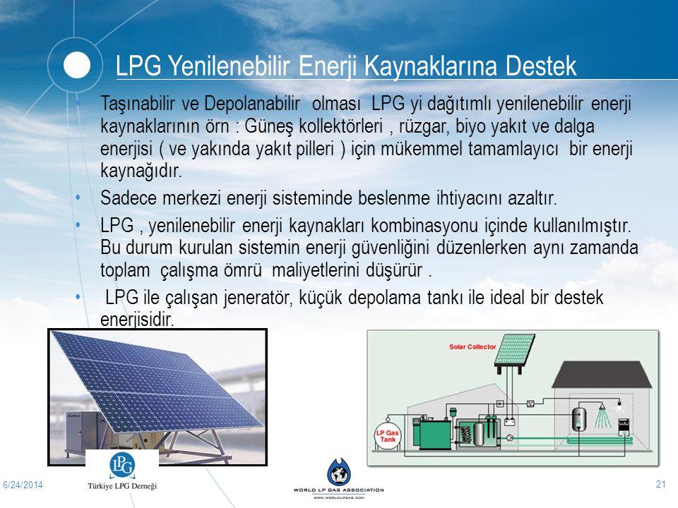6/24/2014 21 •Taşınabilir ve Depolanabilir olması LPG yi dağıtımlı yenilenebilir enerji kaynaklarının örn : Güneş kollektörleri, rüzgar, biyo yakıt ve