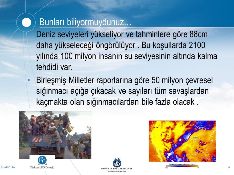 6/24/2014 3 Bunları biliyormuydunuz… •Deniz seviyeleri yükseliyor ve tahminlere göre 88cm daha yükseleceği öngörülüyor. Bu koşullarda 2100 yılında 100