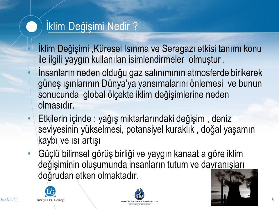 6/24/2014 6 İklim Değişimi Nedir ? •İklim Değişimi,Küresel Isınma ve Seragazı etkisi tanımı konu ile ilgili yaygın kullanılan isimlendirmeler olmuştur