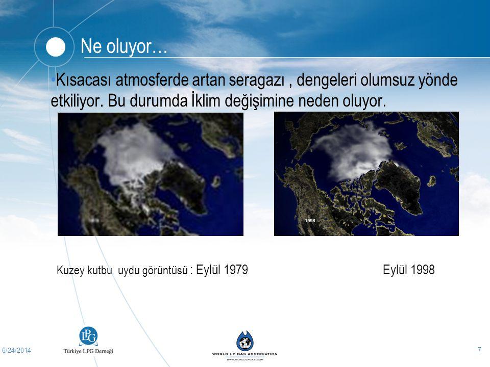 6/24/2014 7 Ne oluyor… •Kısacası atmosferde artan seragazı, dengeleri olumsuz yönde etkiliyor. Bu durumda İklim değişimine neden oluyor. Kuzey kutbu u