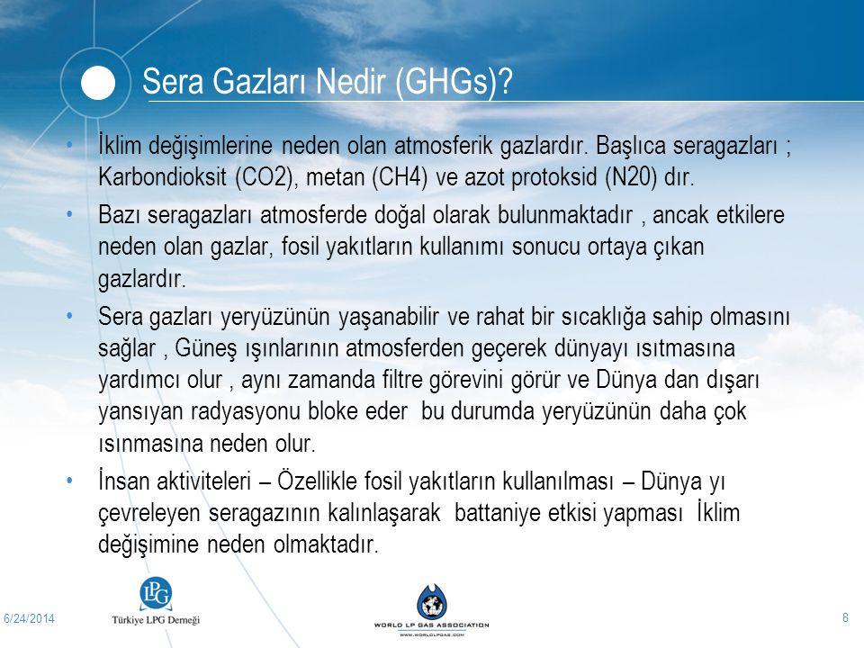 6/24/2014 8 Sera Gazları Nedir (GHGs)? •İklim değişimlerine neden olan atmosferik gazlardır. Başlıca seragazları ; Karbondioksit (CO2), metan (CH4) ve