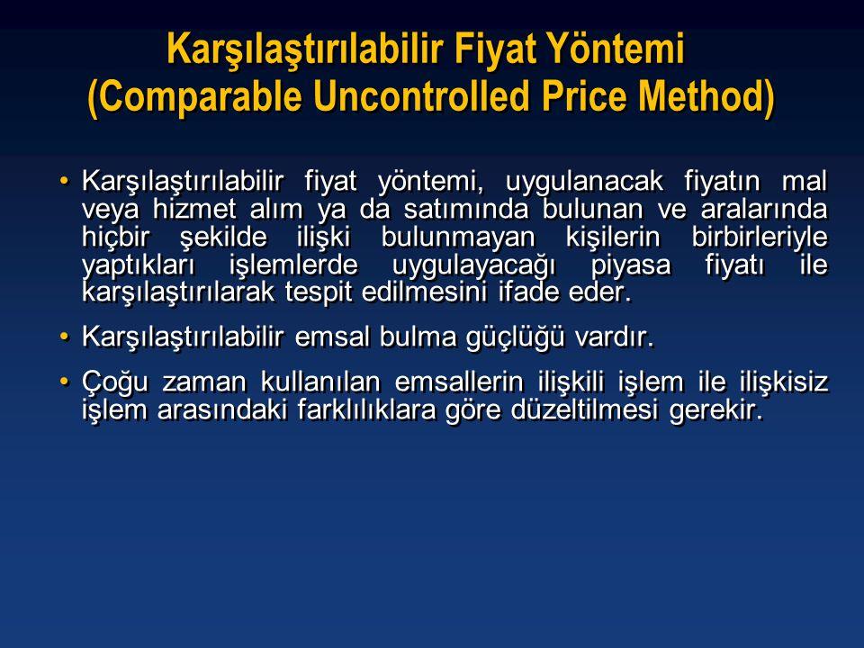 Karşılaştırılabilir Fiyat Yöntemi (Comparable Uncontrolled Price Method) •Karşılaştırılabilir fiyat yöntemi, uygulanacak fiyatın mal veya hizmet alım