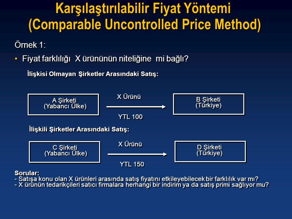Örnek 1: •Fiyat farklılığı X ürününün niteliğine mi bağlı? Örnek 1: •Fiyat farklılığı X ürününün niteliğine mi bağlı? A Şirketi (Yabancı Ülke) A Şirke