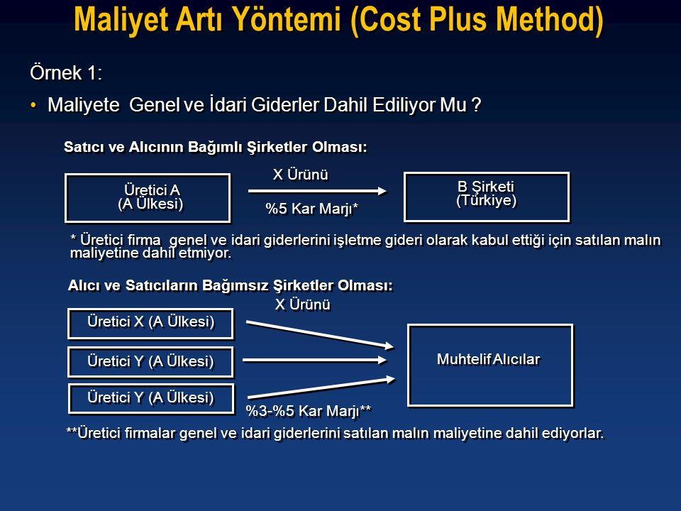 Maliyet Artı Yöntemi (Cost Plus Method) Örnek 1: •Maliyete Genel ve İdari Giderler Dahil Ediliyor Mu ? Örnek 1: •Maliyete Genel ve İdari Giderler Dahi