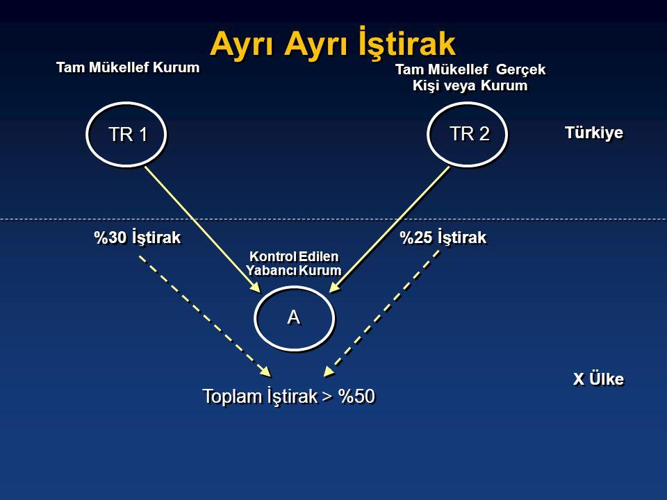 Ayrı Ayrı İştirak TR 1 A A X Ülke Türkiye TR 2 %30 İştirak %25 İştirak Toplam İştirak > %50 Kontrol Edilen Yabancı Kurum Tam Mükellef Gerçek Kişi veya