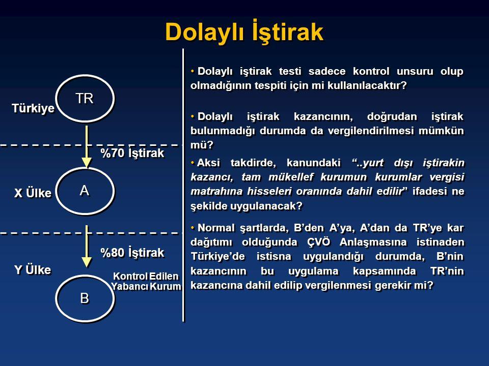 Dolaylı İştirak TR A A B B %70 İştirak %80 İştirak Y Ülke X Ülke Türkiye • Dolaylı iştirak testi sadece kontrol unsuru olup olmadığının tespiti için m