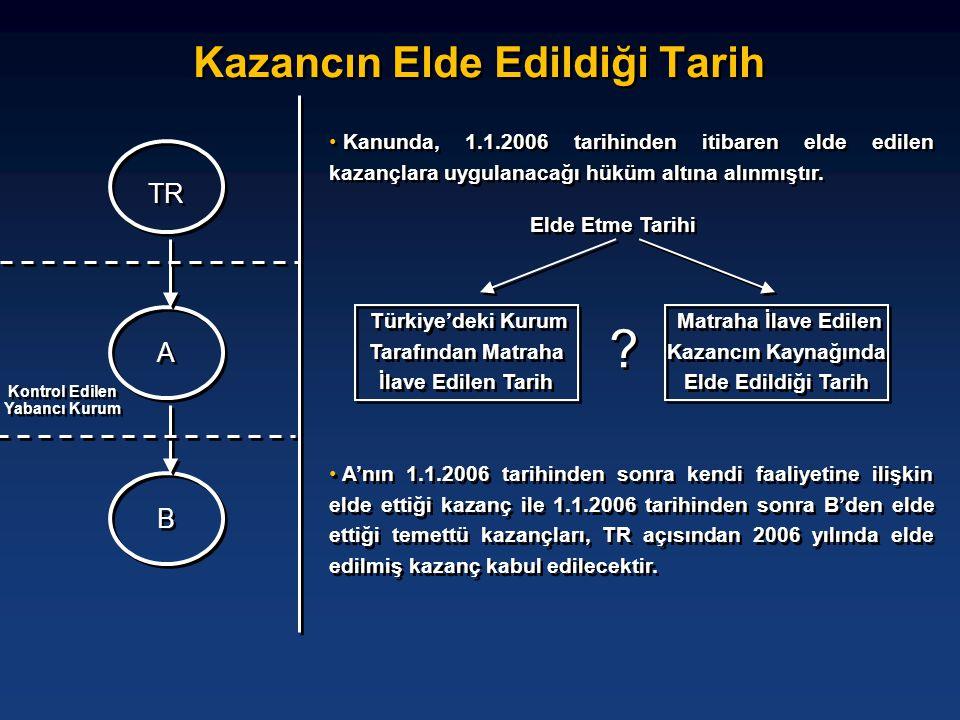Kazancın Elde Edildiği Tarih TR B B Kontrol Edilen Yabancı Kurum A A • Kanunda, 1.1.2006 tarihinden itibaren elde edilen kazançlara uygulanacağı hüküm