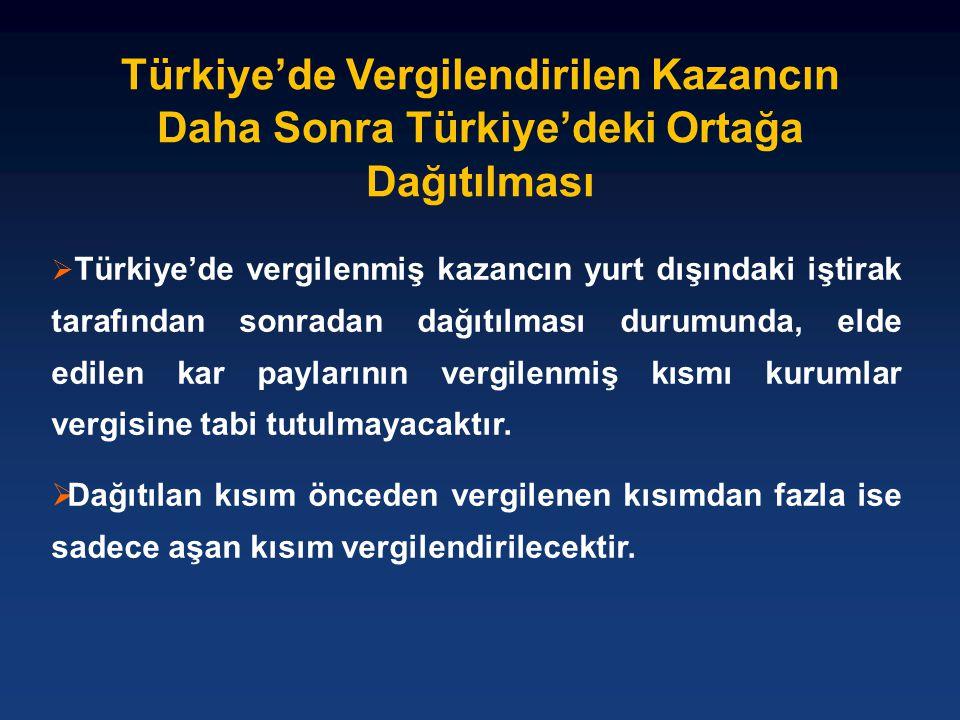 Türkiye'de Vergilendirilen Kazancın Daha Sonra Türkiye'deki Ortağa Dağıtılması  Türkiye'de vergilenmiş kazancın yurt dışındaki iştirak tarafından son
