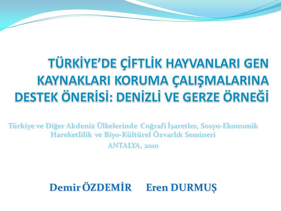Türkiye ve Diğer Akdeniz Ülkelerinde Coğrafi İşaretler, Sosyo-Ekonomik Hareketlilik ve Biyo-Kültürel Özvarlık Semineri ANTALYA, 2010 Demir ÖZDEMİR Ere