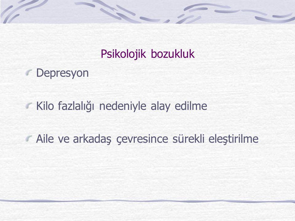 Psikolojik bozukluk Depresyon Kilo fazlalığı nedeniyle alay edilme Aile ve arkadaş çevresince sürekli eleştirilme