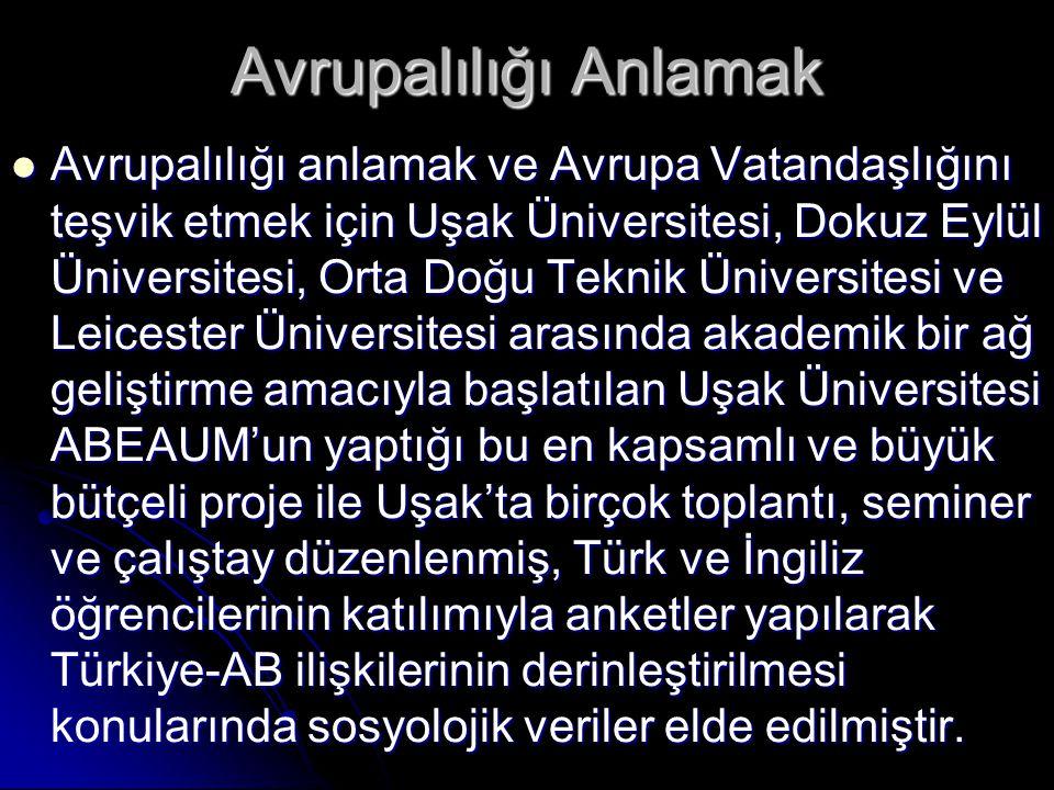 Avrupalılığı Anlamak  Avrupalılığı anlamak ve Avrupa Vatandaşlığını teşvik etmek için Uşak Üniversitesi, Dokuz Eylül Üniversitesi, Orta Doğu Teknik Ü