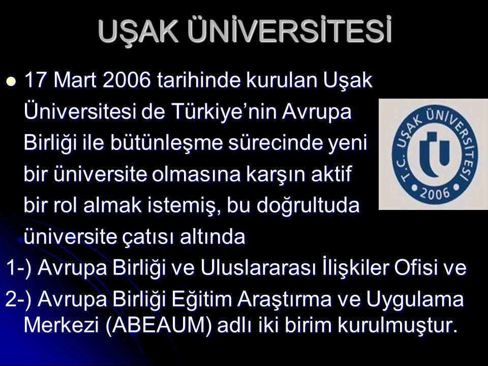 UŞAK ÜNİVERSİTESİ  17 Mart 2006 tarihinde kurulan Uşak Üniversitesi de Türkiye'nin Avrupa Birliği ile bütünleşme sürecinde yeni bir üniversite olması