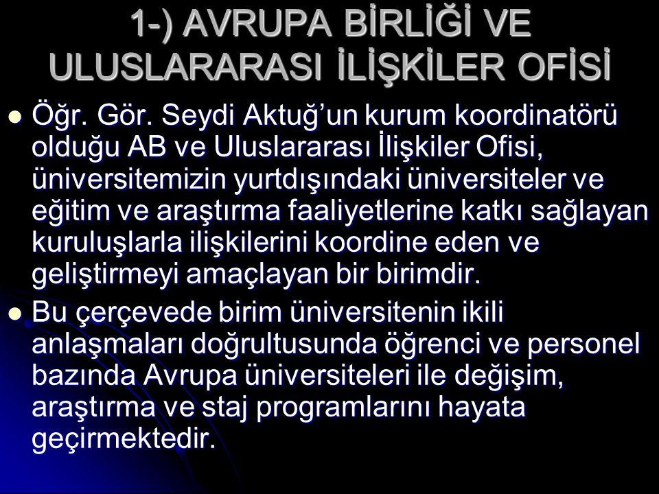 2-) (ABEAUM)  Kısa bir süre önce müdür olarak atandığım ABEAUM, üniversitemizin AB ilişkileri konusunda oluşturduğu ikinci birim olup amacı AB, AB-Türkiye ilişkileri ve aday ülkelere yönelik AB fonları konularında araştırmalar yürütmek, uygulamaya yönelik çalışmalarda bulunmak ve konu ile ilgili dokümantasyon hizmeti sunmaktır.
