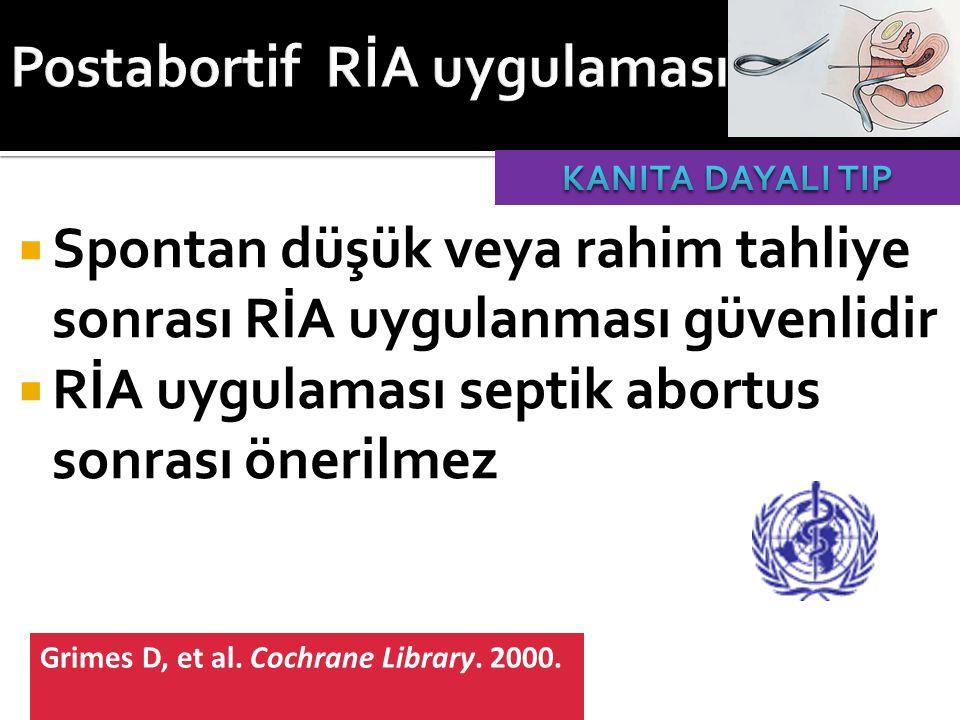  Spontan düşük veya rahim tahliye sonrası RİA uygulanması güvenlidir  RİA uygulaması septik abortus sonrası önerilmez Grimes D, et al. Cochrane Libr
