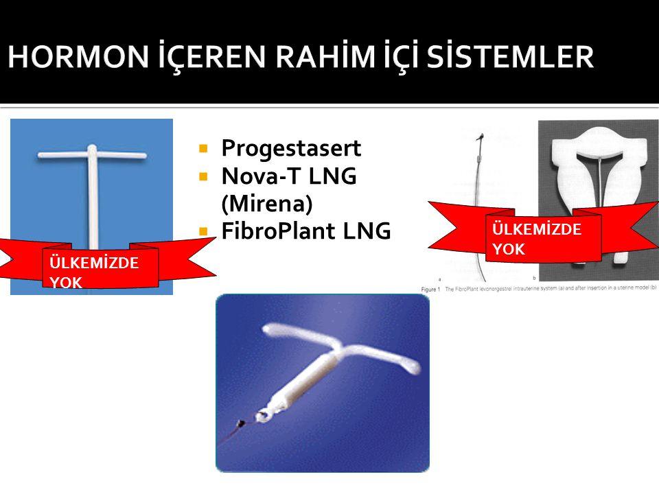  Progestasert  Nova-T LNG (Mirena)  FibroPlant LNG ÜLKEMİZDE YOK