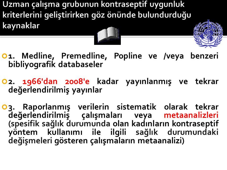 1. Medline, Premedline, Popline ve /veya benzeri bibliyografik databaseler 2. 1966'dan 2008'e kadar yayınlanmış ve tekrar değerlendirilmiş yayınlar 3.