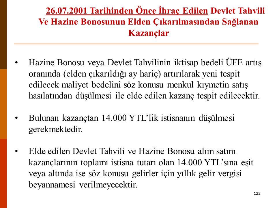 121 Hisse Senetlerinin Elden Çıkarılmasından Doğan Kazançlar Örnek 21: Bay Burhan DÜZ, Y Aracı Kurumun aracılığıyla İstanbul Menkul Kıymetler Borsasından 05.02.2007 tarihinde 10.000 YTL değerinde hisse senedi almıştır.
