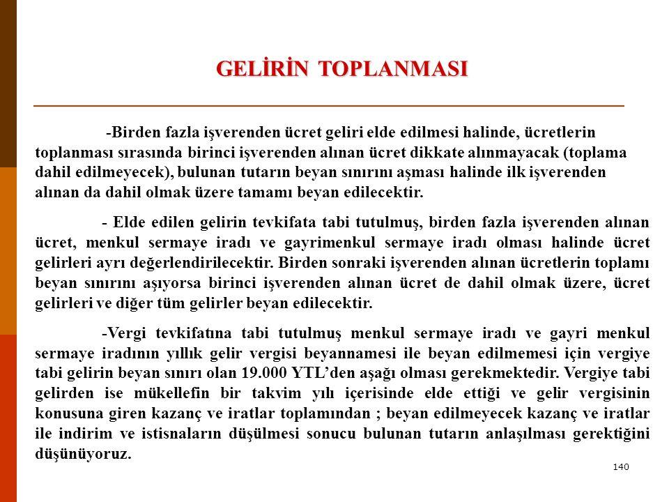 139 GELİRİN TOPLANMASI