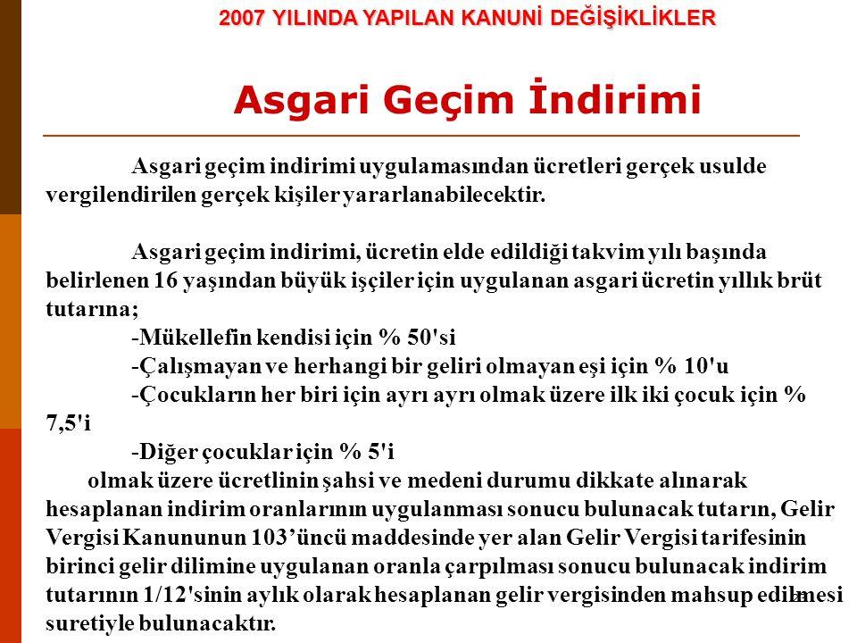 23 2007 YILINDA YAPILAN KANUNİ DEĞİŞİKLİKLER Asgari Geçim İndirimi Asgari geçim indirimi uygulamasından ücretleri gerçek usulde vergilendirilen gerçek kişiler yararlanabilecektir.