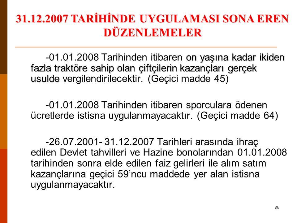 35 2007 YILINDA YAPILAN KANUNİ DEĞİŞİKLİKLER ÇİFTÇİ BELGESİ ALMA ZORUNLULUĞU KALDIRILMIŞTIR.