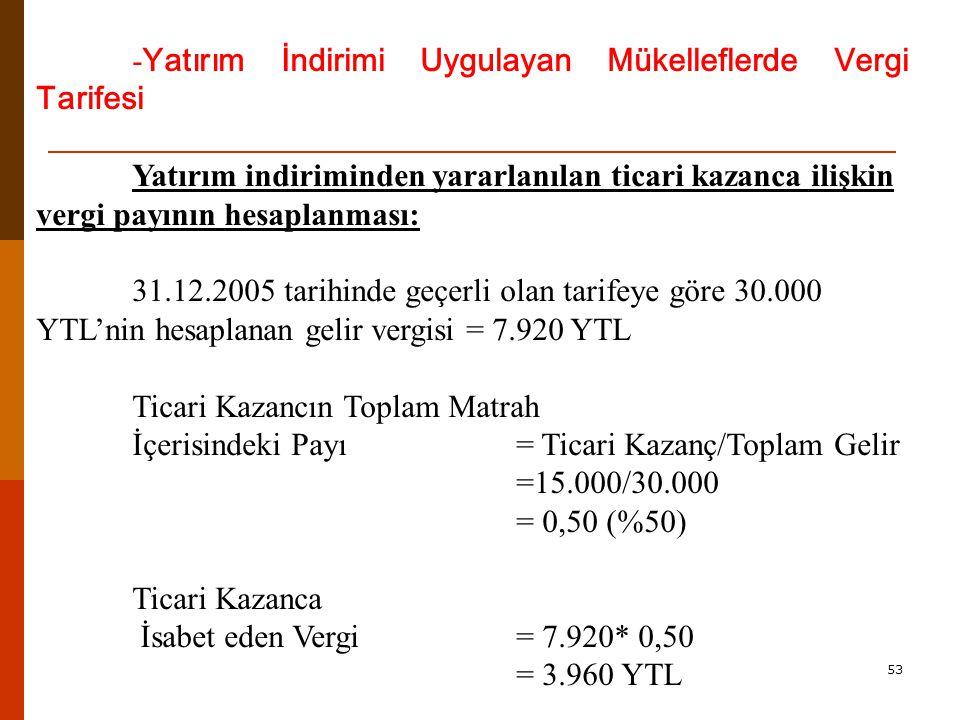 53 - Yatırım İndirimi Uygulayan Mükelleflerde Vergi Tarifesi Yatırım indiriminden yararlanılan ticari kazanca ilişkin vergi payının hesaplanması: 31.12.2005 tarihinde geçerli olan tarifeye göre 30.000 YTL'nin hesaplanan gelir vergisi = 7.920 YTL Ticari Kazancın Toplam Matrah İçerisindeki Payı= Ticari Kazanç/Toplam Gelir =15.000/30.000 = 0,50 (%50) Ticari Kazanca İsabet eden Vergi= 7.920* 0,50 = 3.960 YTL