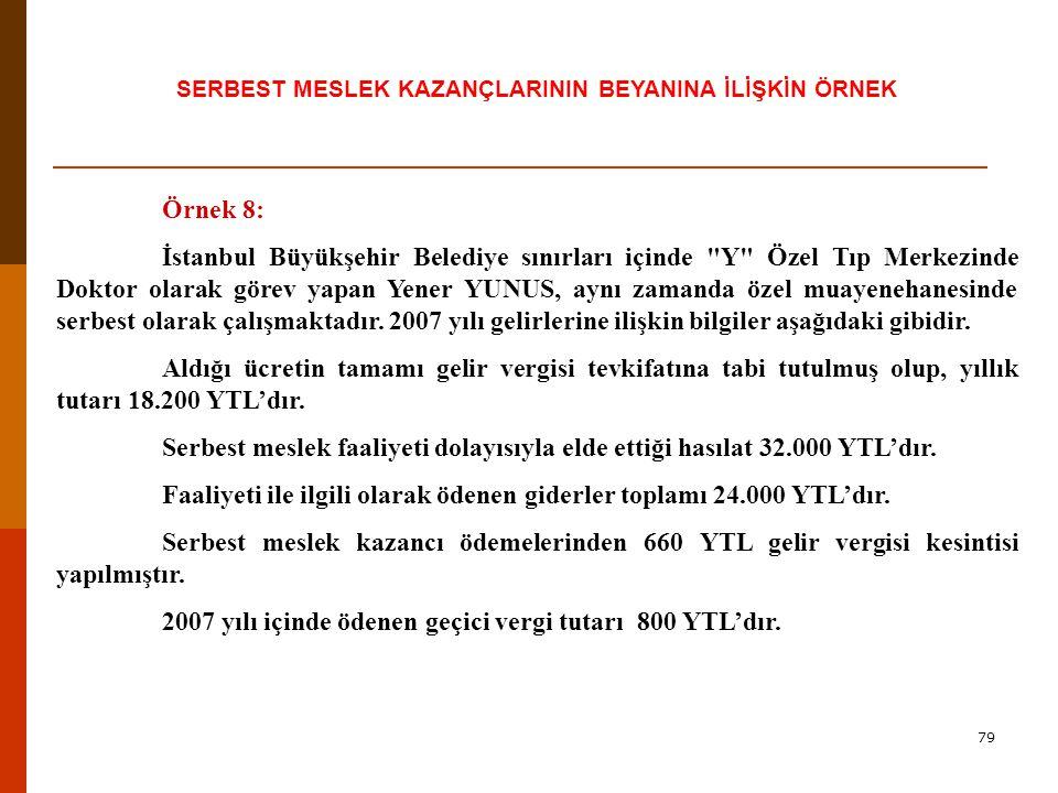 78 Serbest Meslek Kazancı İle İlgili İstisnalar Örnek Mütercim Bay (X) Türkçe'ye çevirdiği bir kitabın yayınlanması amacıyla bir gazete ile anlaşmıştır.