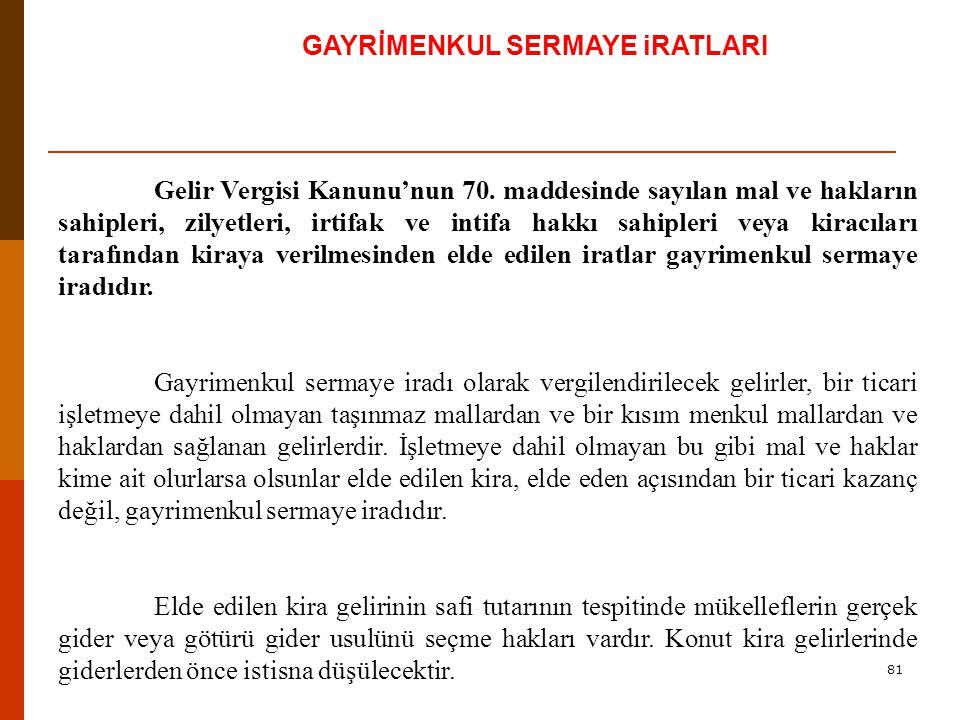 81 GAYRİMENKUL SERMAYE iRATLARI Gelir Vergisi Kanunu'nun 70.