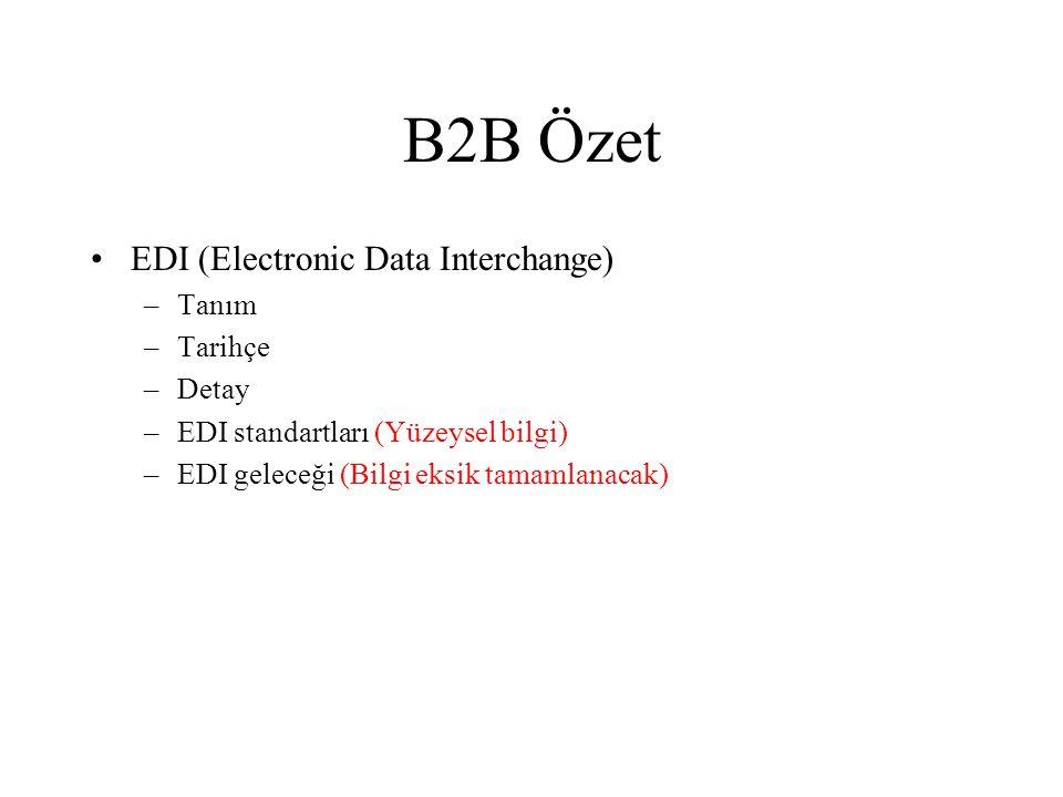B2B Özet •EDI (Electronic Data Interchange) –Tanım –Tarihçe –Detay –EDI standartları (Yüzeysel bilgi) –EDI geleceği (Bilgi eksik tamamlanacak)