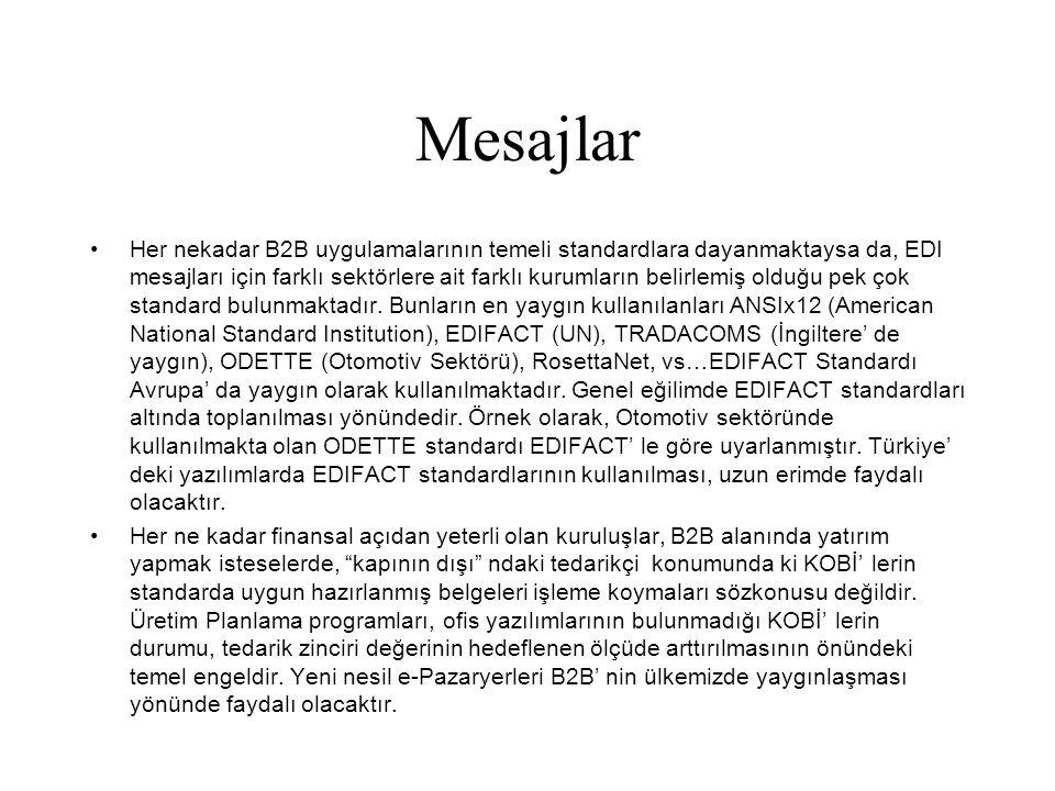 Mesajlar •Her nekadar B2B uygulamalarının temeli standardlara dayanmaktaysa da, EDI mesajları için farklı sektörlere ait farklı kurumların belirlemiş