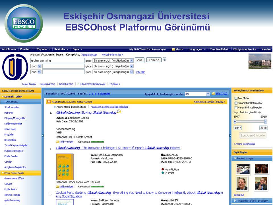Eskişehir Osmangazi Üniversitesi EBSCOhost Platformu Görünümü