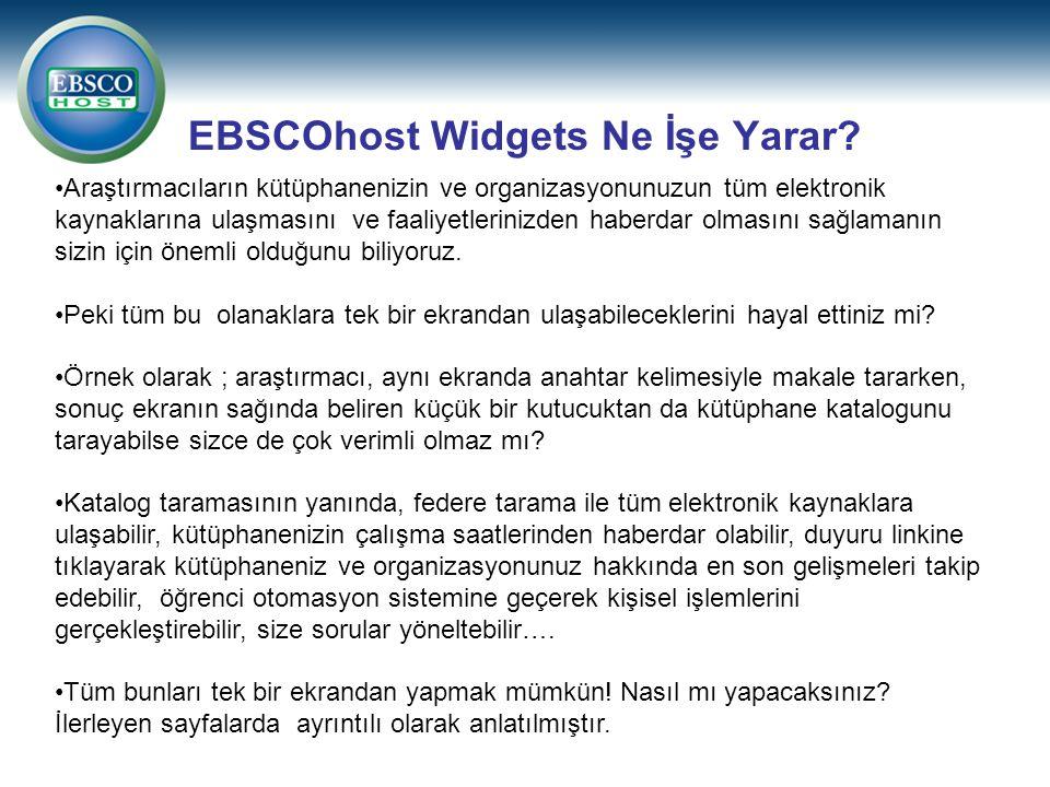 EBSCOhost Widgets Ne İşe Yarar.