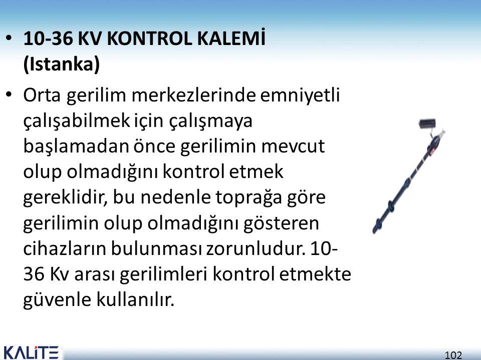102 • 10-36 KV KONTROL KALEMİ (Istanka) • Orta gerilim merkezlerinde emniyetli çalışabilmek için çalışmaya başlamadan önce gerilimin mevcut olup olmad