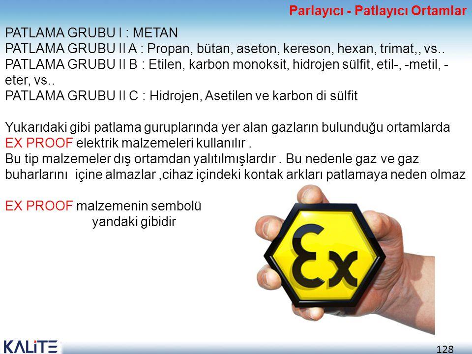 128 PATLAMA GRUBU I : METAN PATLAMA GRUBU II A : Propan, bütan, aseton, kereson, hexan, trimat,, vs.. PATLAMA GRUBU II B : Etilen, karbon monoksit, hi