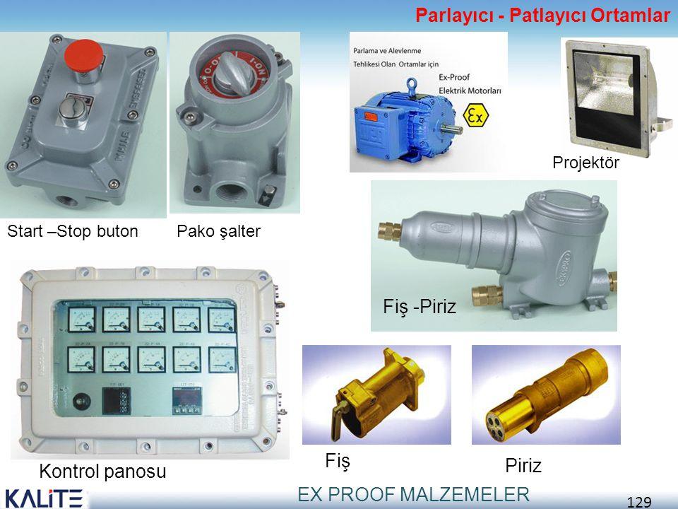 129 Parlayıcı - Patlayıcı Ortamlar EX PROOF MALZEMELER Start –Stop butonPako şalter Projektör Fiş -Piriz Kontrol panosu Piriz Fiş
