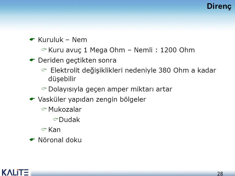 28  Kuruluk – Nem  Kuru avuç 1 Mega Ohm – Nemli : 1200 Ohm  Deriden geçtikten sonra  Elektrolit değişiklikleri nedeniyle 380 Ohm a kadar düşebilir