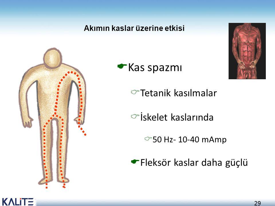 29  Kas spazmı  Tetanik kasılmalar  İskelet kaslarında  50 Hz- 10-40 mAmp  Fleksör kaslar daha güçlü Akımın kaslar üzerine etkisi