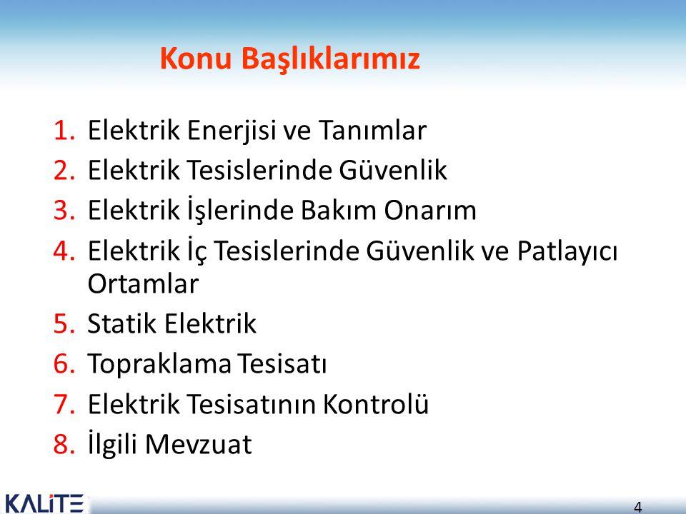 4 Konu Başlıklarımız 1.Elektrik Enerjisi ve Tanımlar 2.Elektrik Tesislerinde Güvenlik 3.Elektrik İşlerinde Bakım Onarım 4.Elektrik İç Tesislerinde Güv