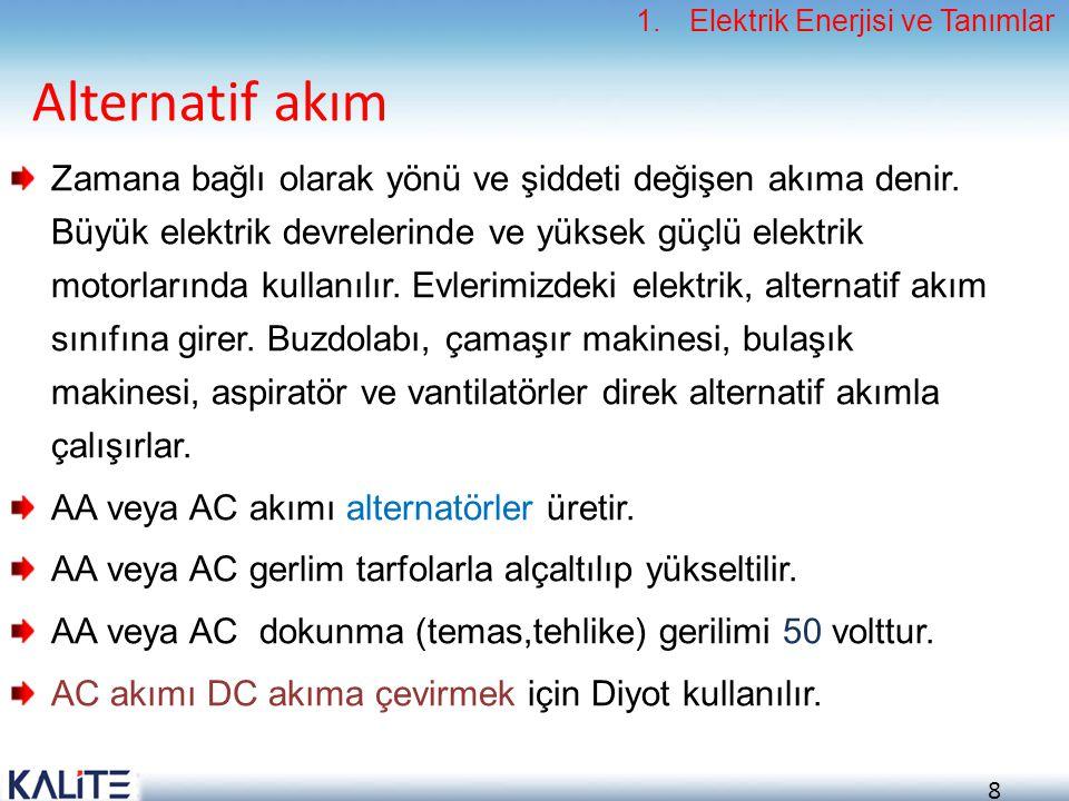 8 Alternatif akım Zamana bağlı olarak yönü ve şiddeti değişen akıma denir. Büyük elektrik devrelerinde ve yüksek güçlü elektrik motorlarında kullanılı