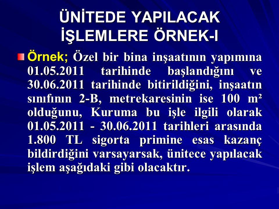 ÜNİTEDE YAPILACAK İŞLEMLERE ÖRNEK-II İnşaat 2011 yılında başlayıp bittiğinden 2011 yılı birim fiyatı kullanılacaktır.