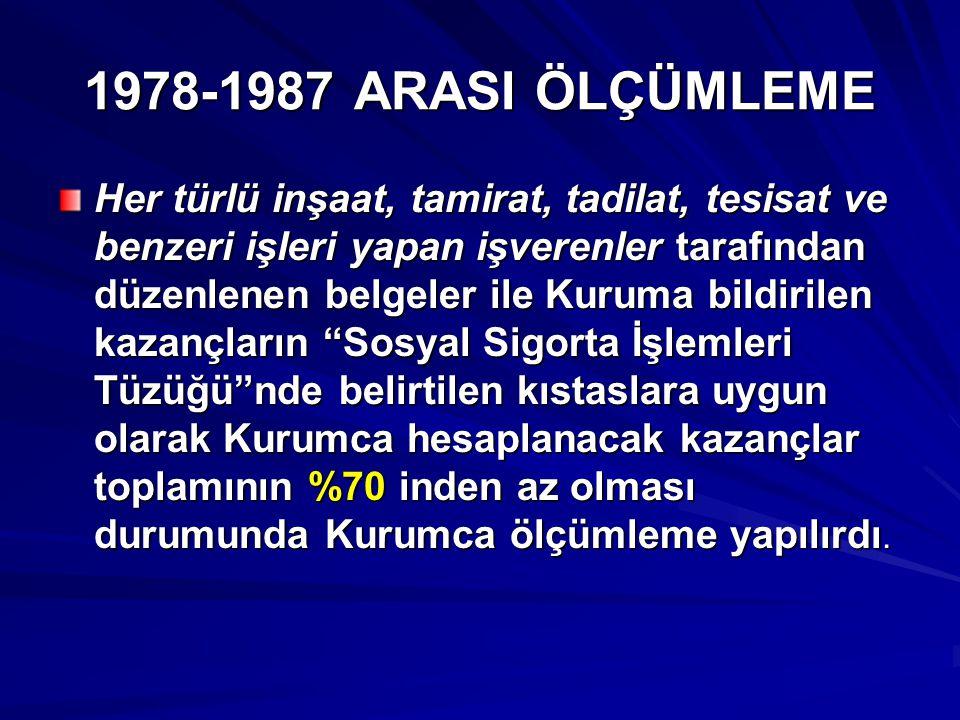 1987-1994 ARASINDA ÖLÇÜMLEME ve ASGARİ İŞÇİLİK UYGULANMADI  09.07.1987 tarihinde yürürlüğe giren 3395 sayılı yasa ile ölçümleme sistemine son verildi ve yerine idari para cezaları sistemi getirildi.