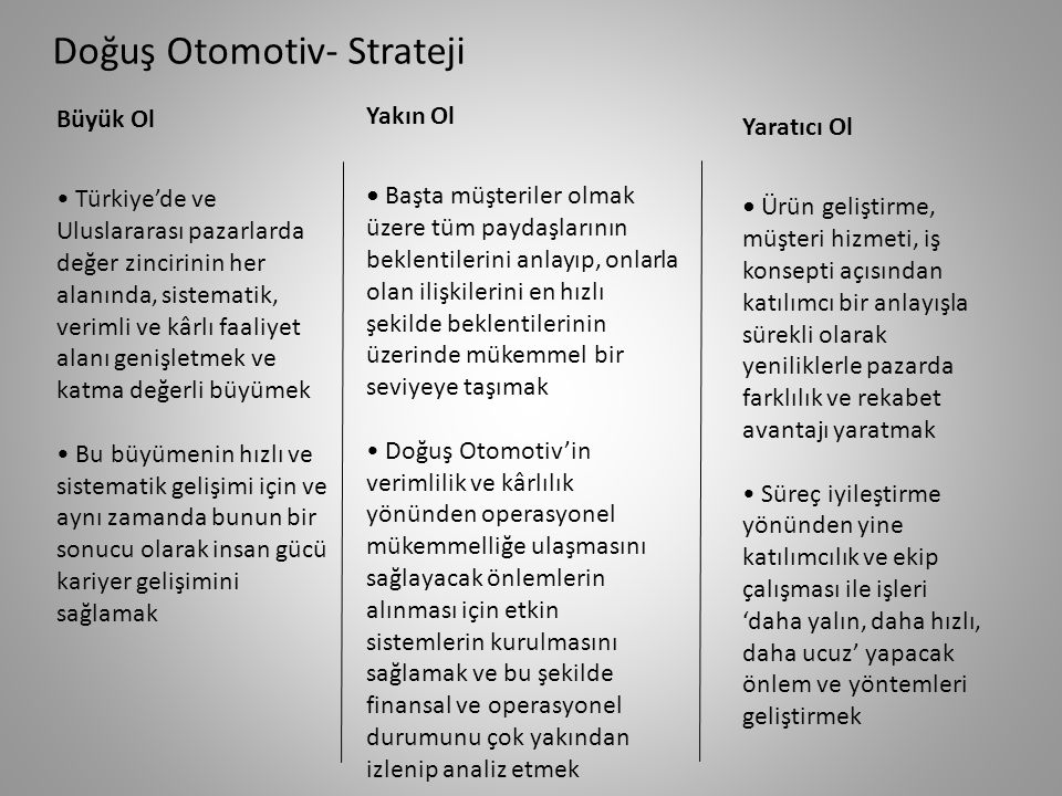 FIRSATLAR • Büyüyen Türkiye ekonomisinde otomotiv sektörüne verilen değer ve yatırımlara teşvikler, • Özellikle krizden sonra uygulanan ÖTV indirimi teşviğinin satışlara etkisi, • Elektrikli otomobil teknolojisi ve üretimi ile pazara yeni bir can gelme ihtimali, • Sektördeki talep potansiyeli,